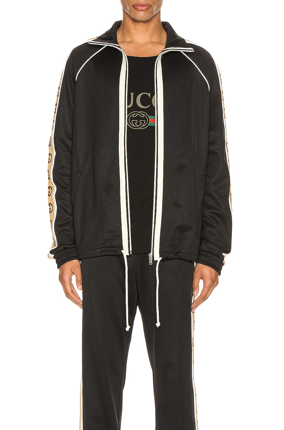 Image 2 of Gucci Oversize Technical Jersey Jacket in Black & Multi