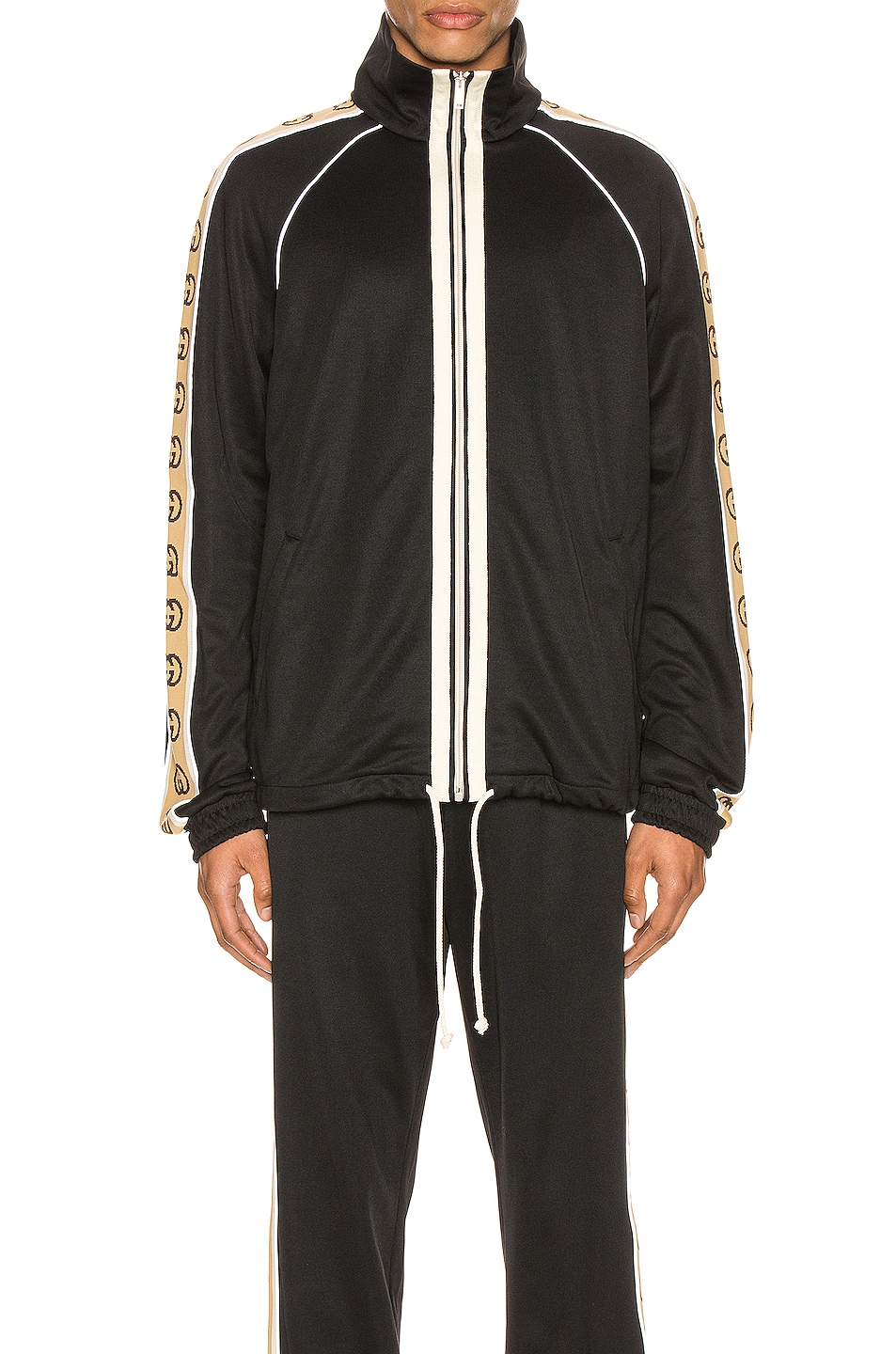 Image 3 of Gucci Oversize Technical Jersey Jacket in Black & Multi