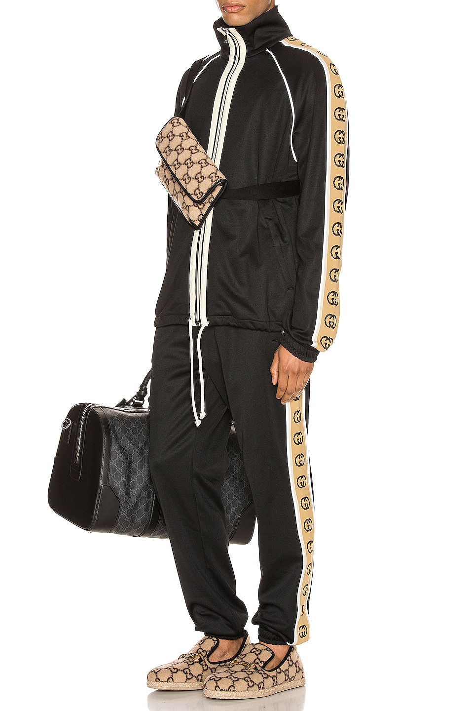 Image 6 of Gucci Oversize Technical Jersey Jacket in Black & Multi