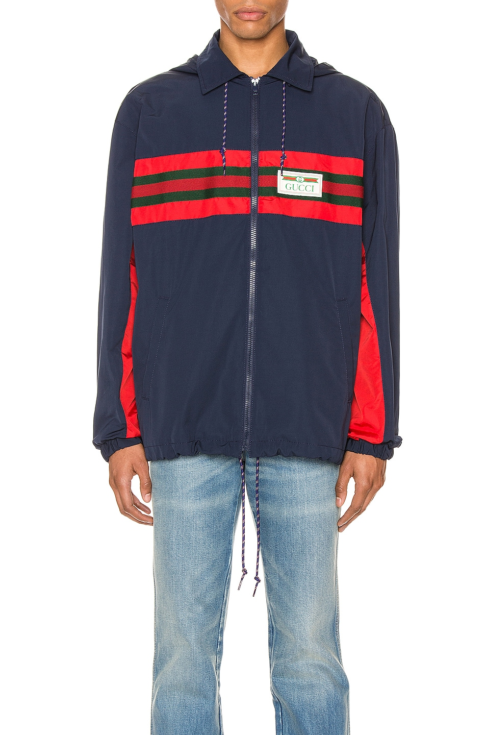 Image 1 of Gucci Nylon Jacket with Web & Logo in Blue & Multi