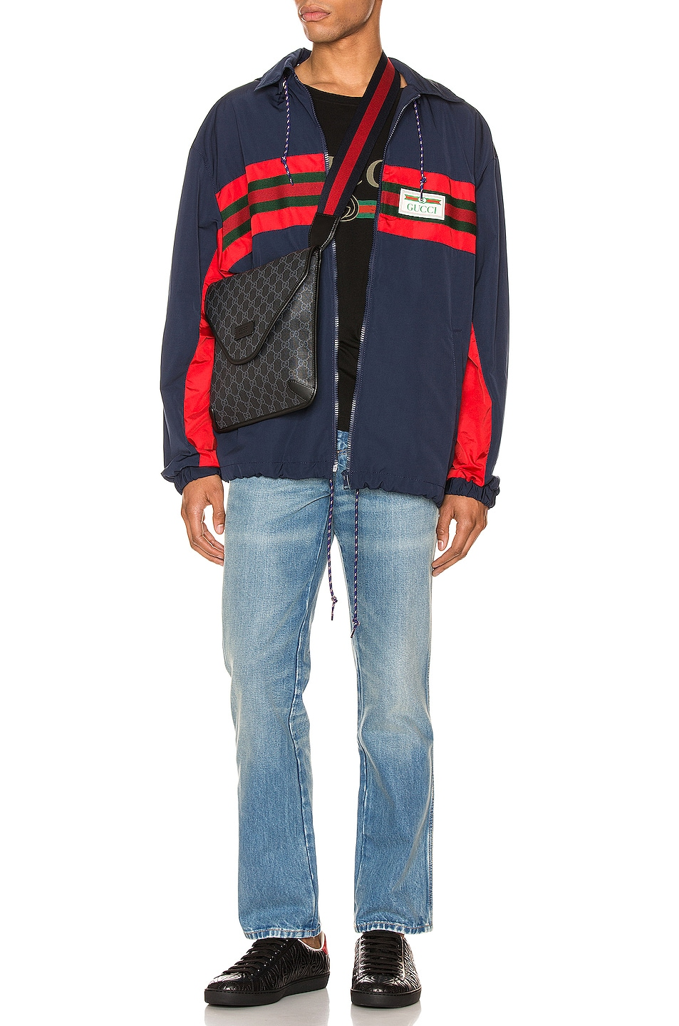 Image 5 of Gucci Nylon Jacket with Web & Logo in Blue & Multi