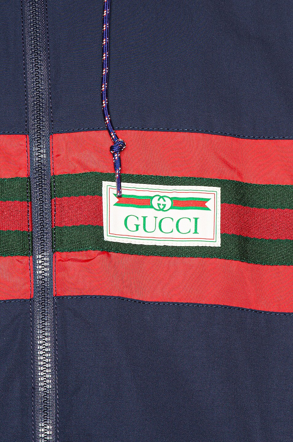 Image 6 of Gucci Nylon Jacket with Web & Logo in Blue & Multi
