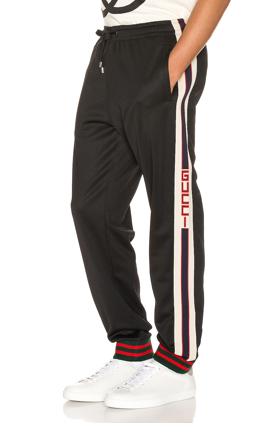 Image 1 of Gucci Technical Jersey Pant in Black & Ivory & Live Red