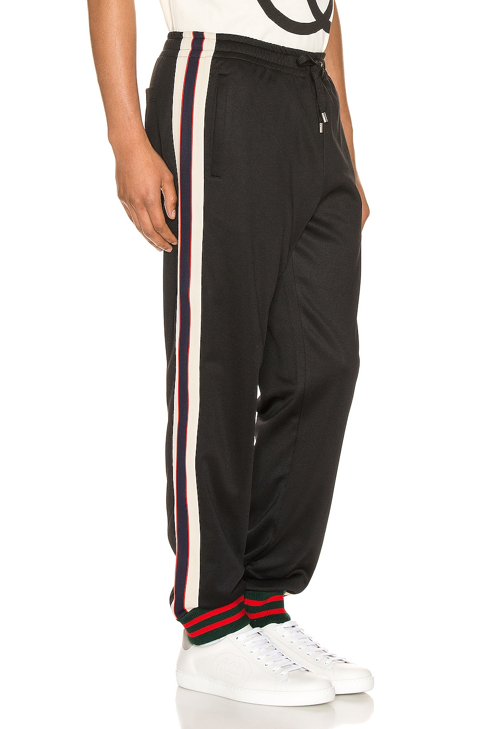 Image 3 of Gucci Technical Jersey Pant in Black & Ivory & Live Red