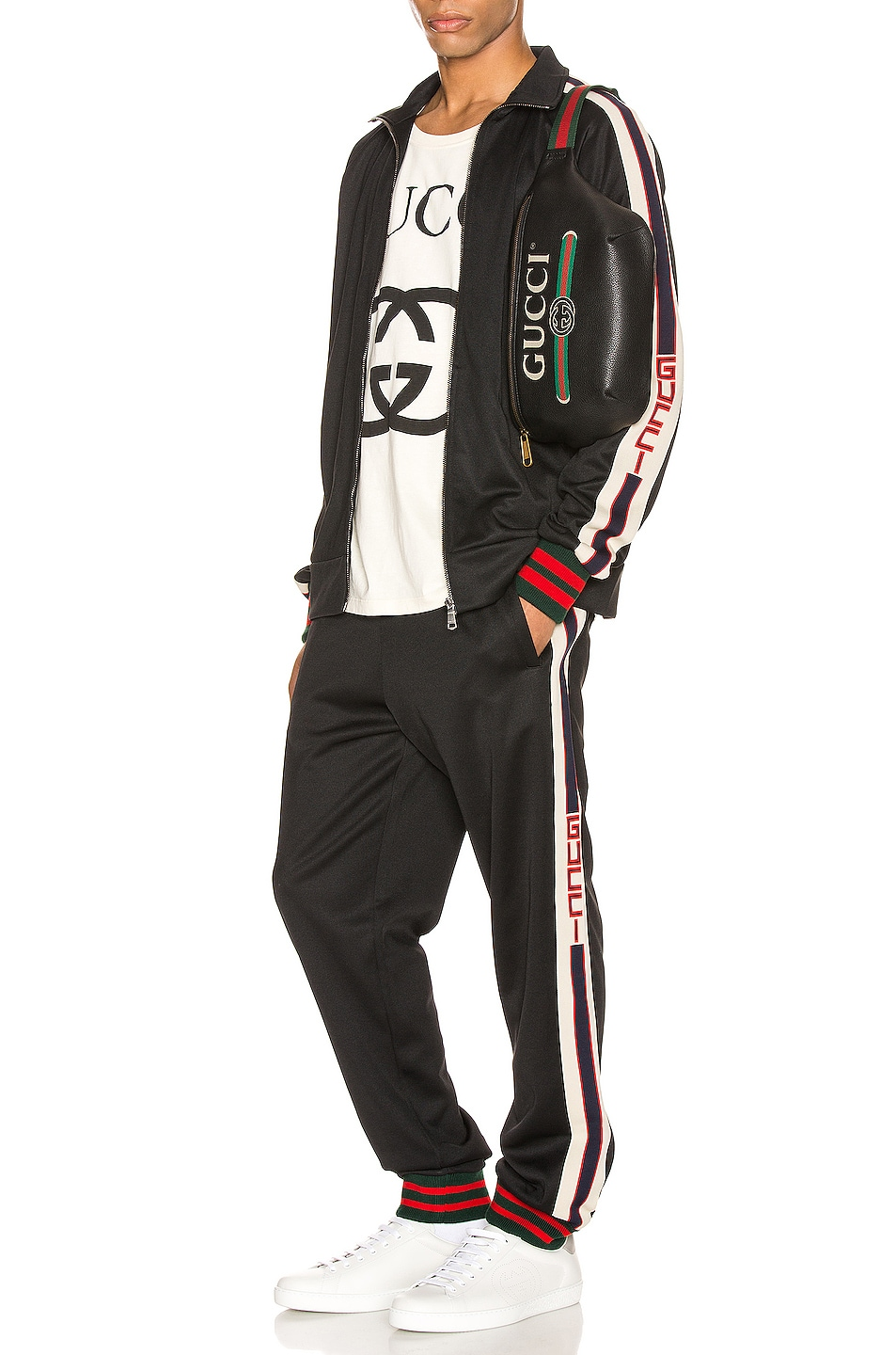 Image 5 of Gucci Technical Jersey Pant in Black & Ivory & Live Red