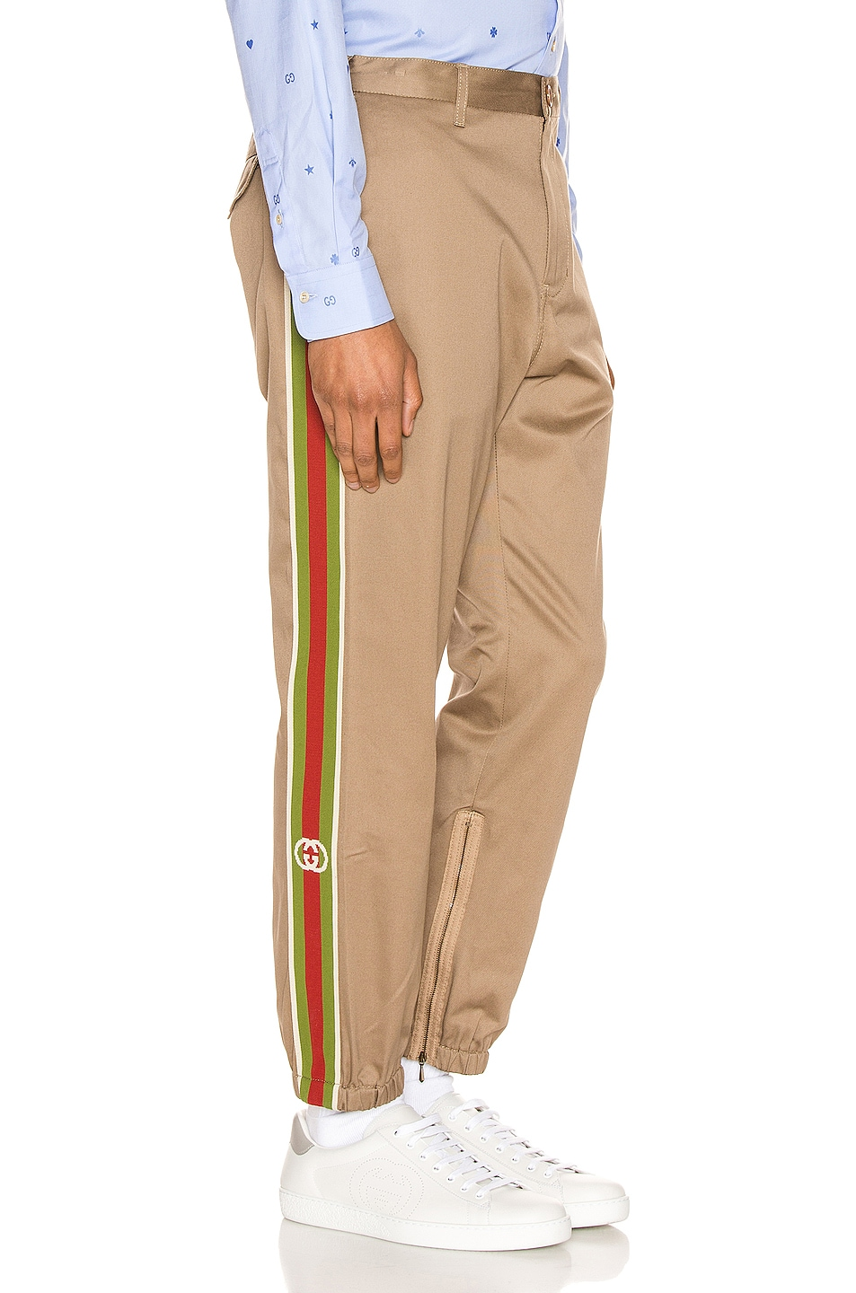 Image 1 of Gucci Cotton Pant With Stripes in Khaki & Multi