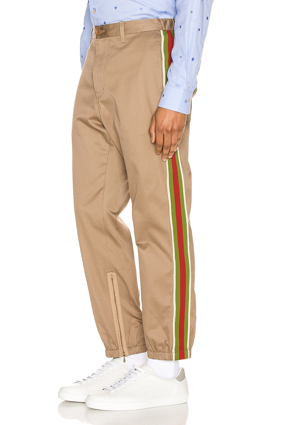 Image 3 of Gucci Cotton Pant With Stripes in Khaki & Multi