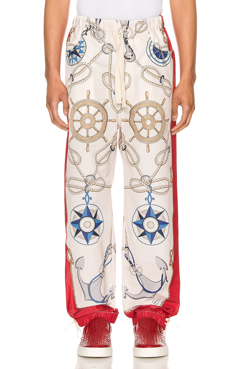 Image 1 of Gucci Nautical Print Nylon Pants in Live Red & Multi