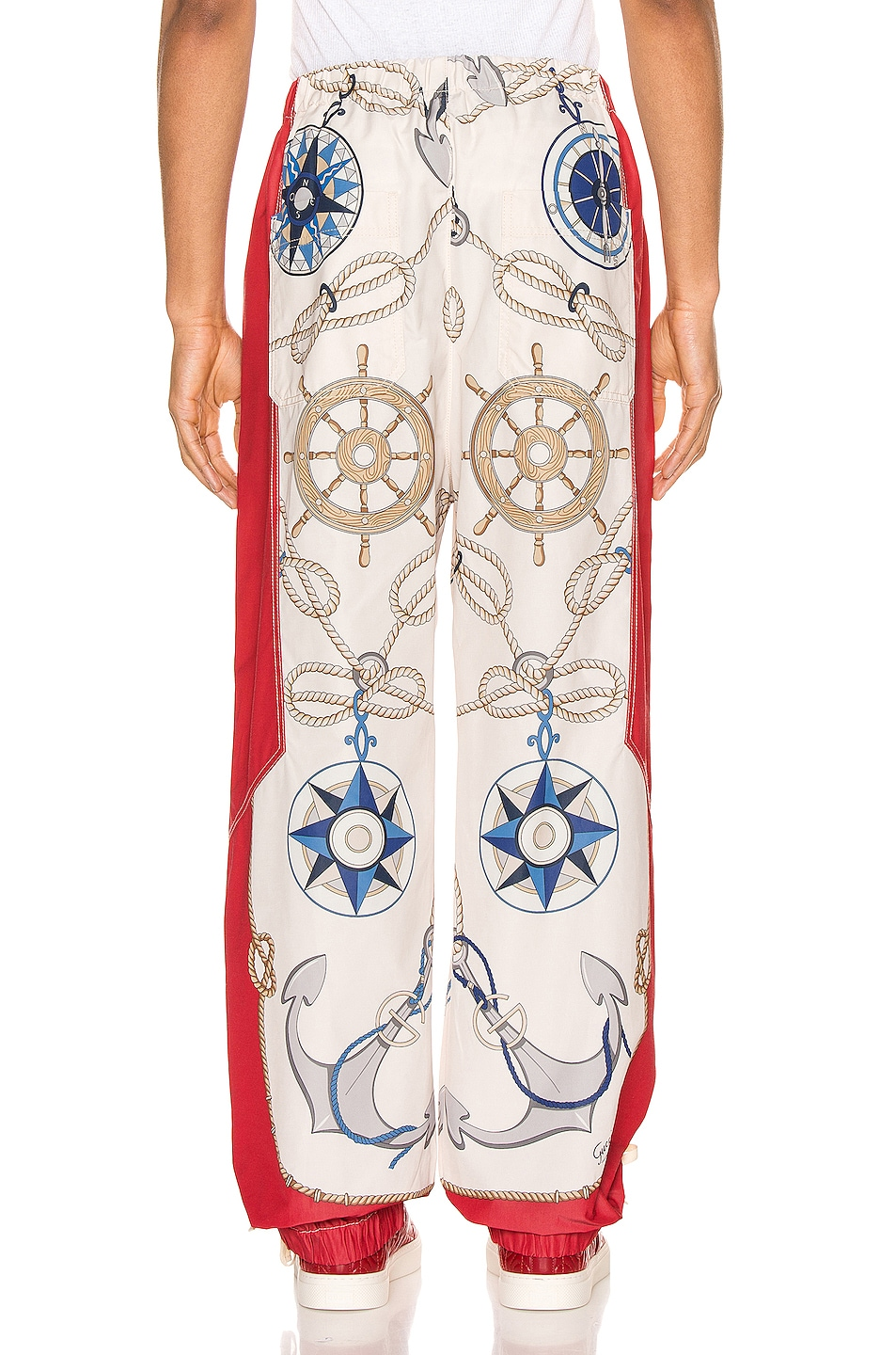 Image 3 of Gucci Nautical Print Nylon Pants in Live Red & Multi