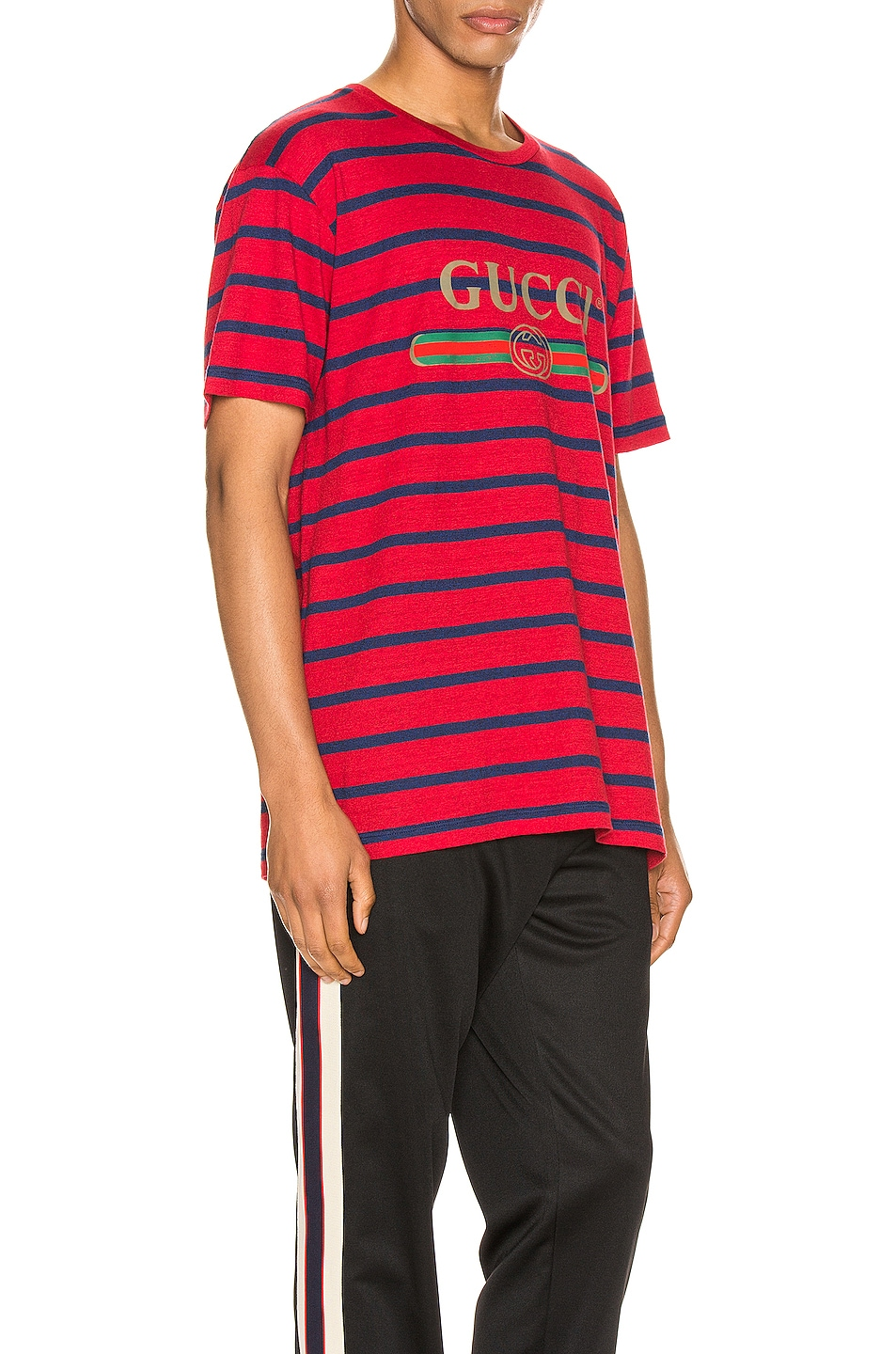 Image 2 of Gucci Logo Striped Tee in Red & Inchiostro & MC