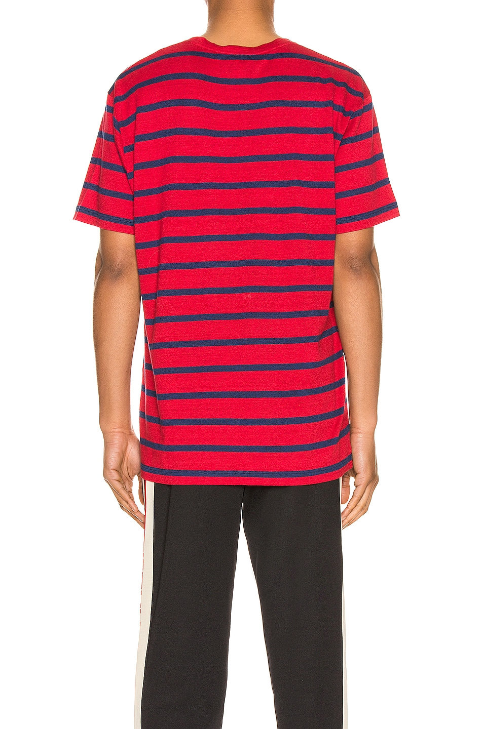 Image 3 of Gucci Logo Striped Tee in Red & Inchiostro & MC