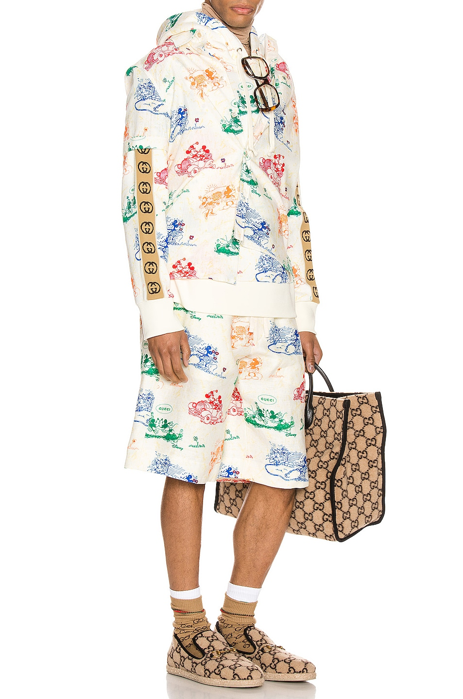 Image 4 of Gucci x Disney Printed Cotton Shirt in Ivory & Yard Print