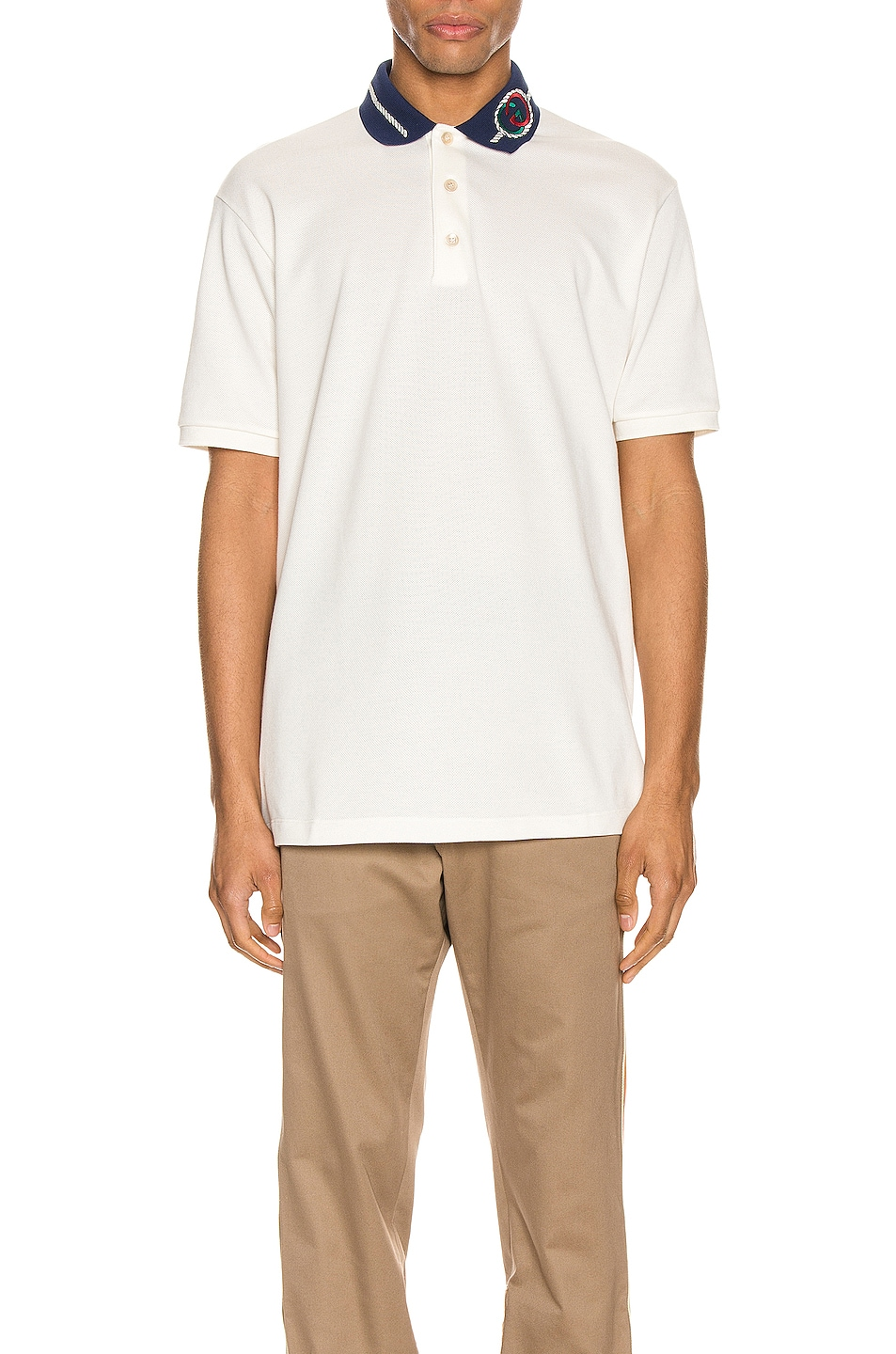 Image 1 of Gucci Cotton Polo With Interlocking G Torchon in Off-White & MC