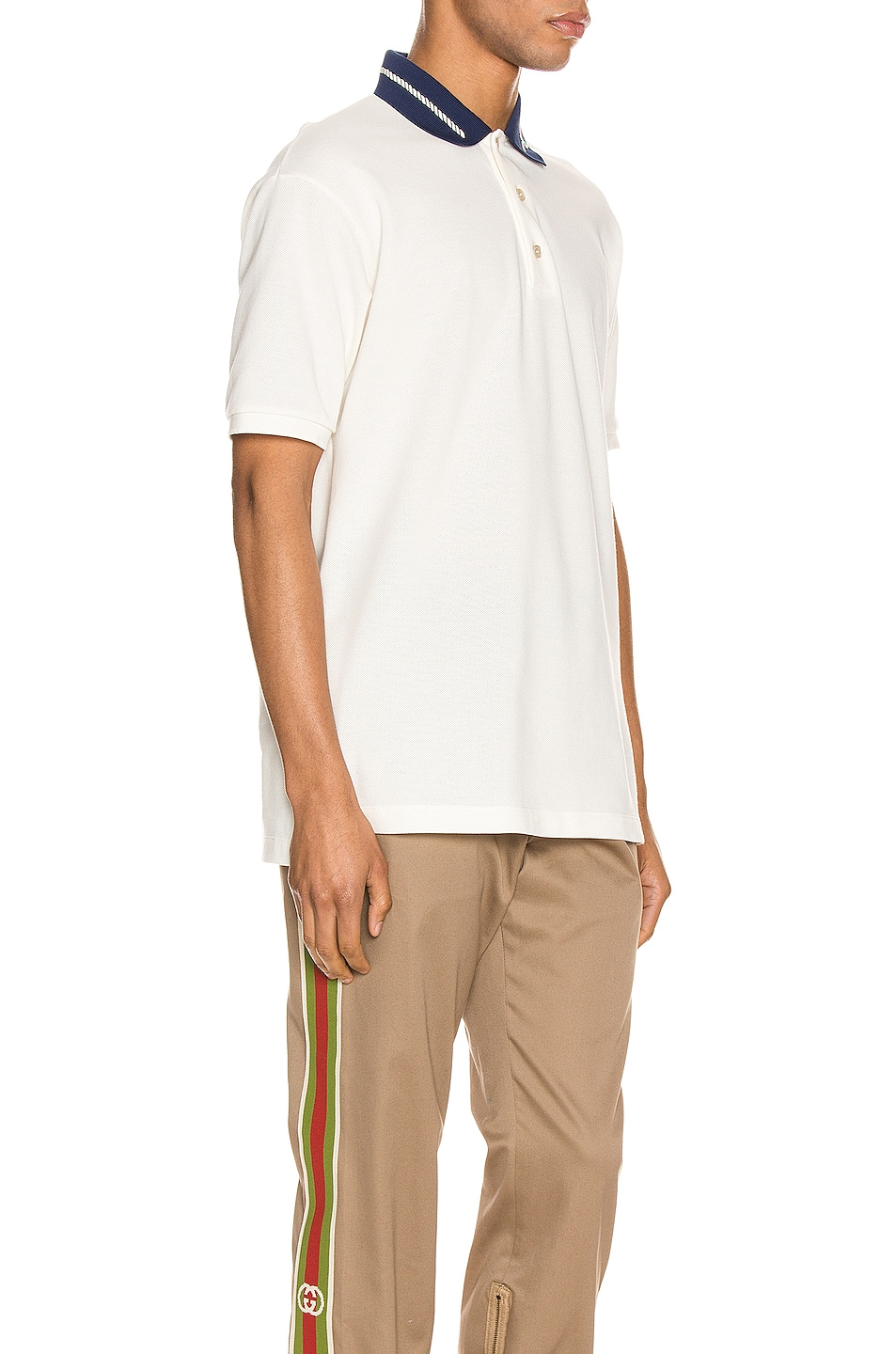 Image 2 of Gucci Cotton Polo With Interlocking G Torchon in Off-White & MC