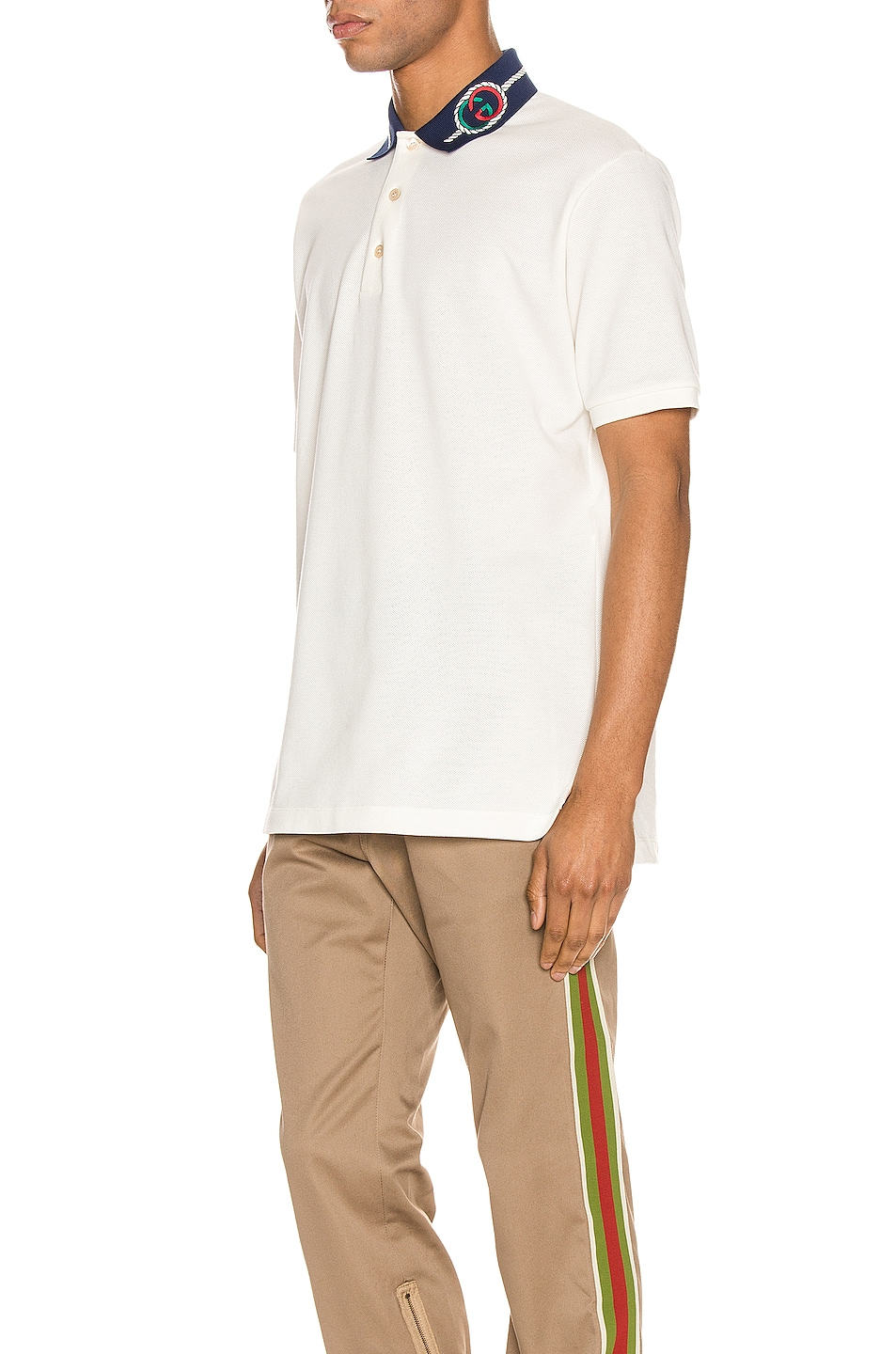 Image 3 of Gucci Cotton Polo With Interlocking G Torchon in Off-White & MC