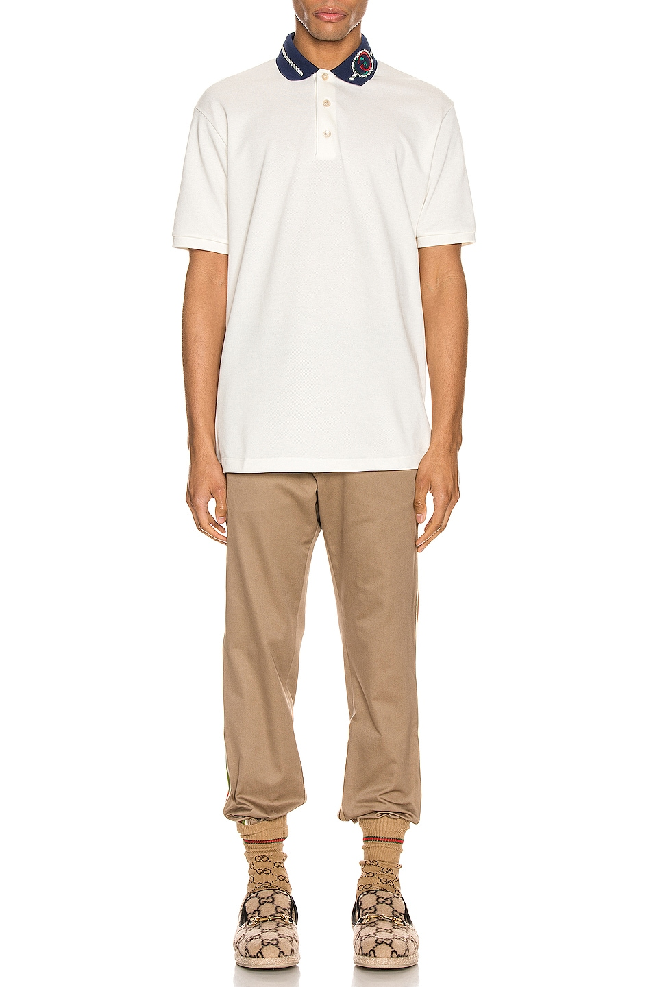 Image 5 of Gucci Cotton Polo With Interlocking G Torchon in Off-White & MC