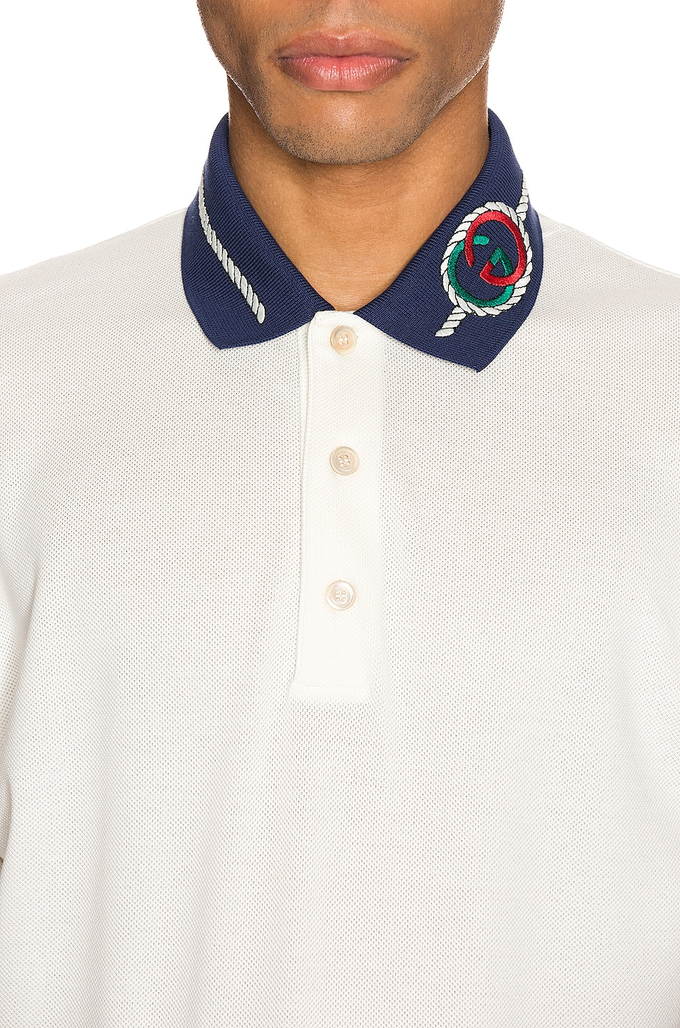 Image 6 of Gucci Cotton Polo With Interlocking G Torchon in Off-White & MC