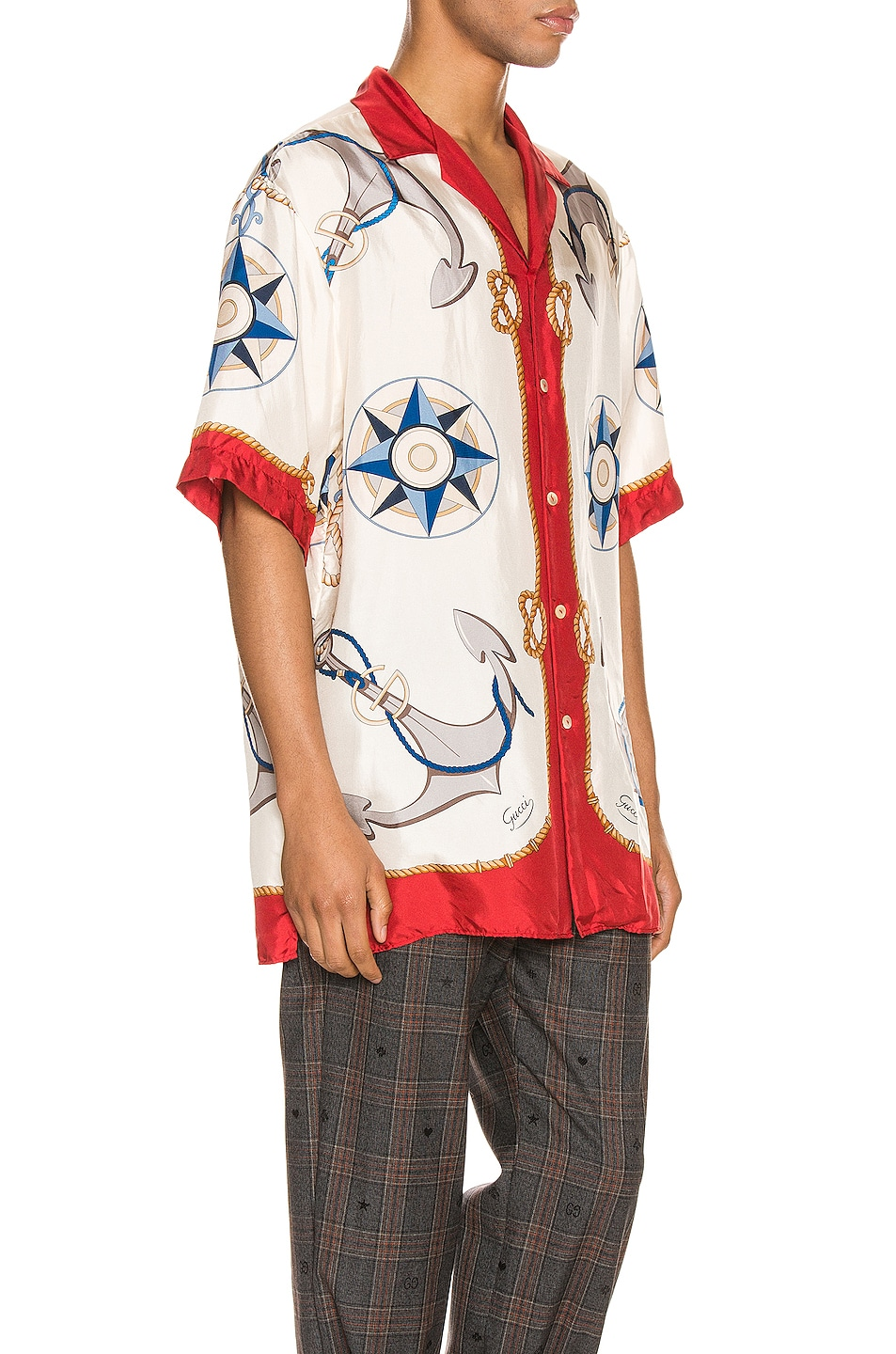 Image 2 of Gucci Nautical Print Oversize Bowling Shirt in Live Red & Ivory Print