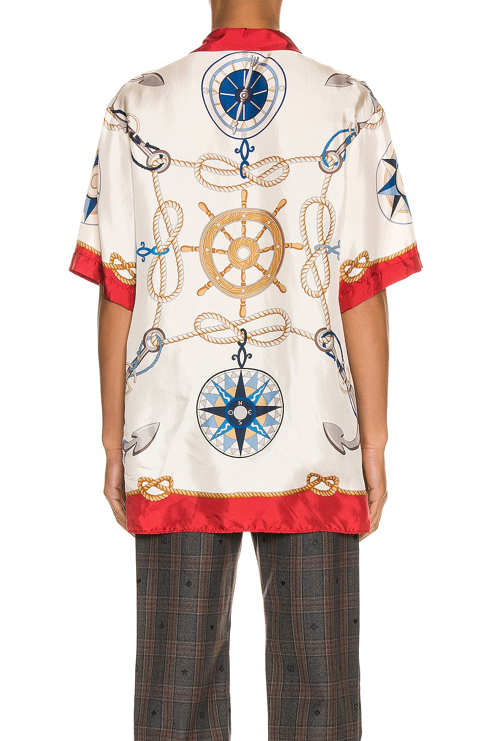 Image 3 of Gucci Nautical Print Oversize Bowling Shirt in Live Red & Ivory Print