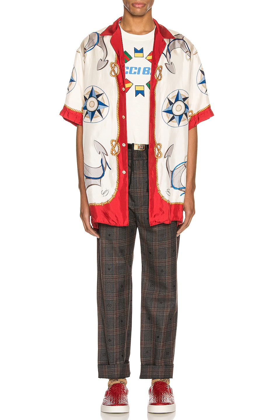 Image 4 of Gucci Nautical Print Oversize Bowling Shirt in Live Red & Ivory Print