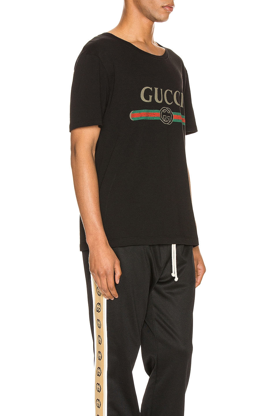Image 2 of Gucci Logo Oversize Washed Tee in Black & Green & Red & Crop
