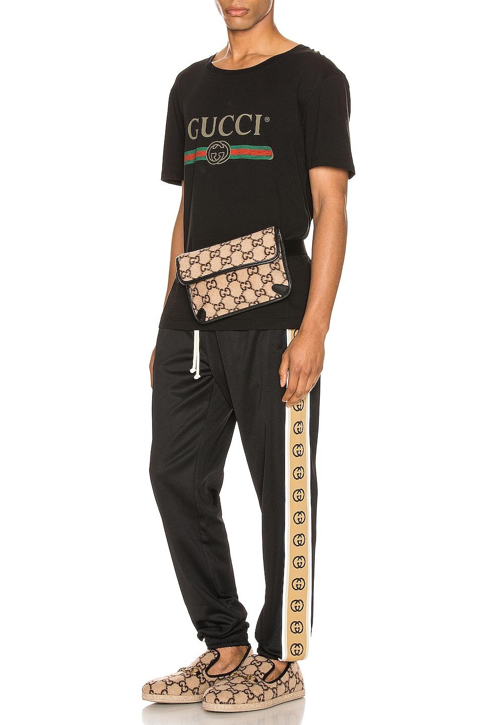 Image 4 of Gucci Logo Oversize Washed Tee in Black & Green & Red & Crop