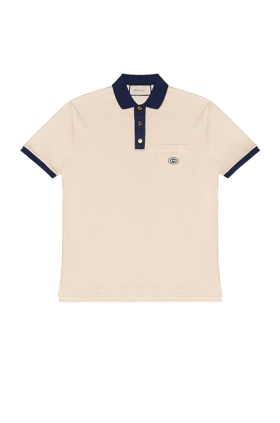 Image 1 of Gucci Short Sleeve Polo in Bone & Inchiostro