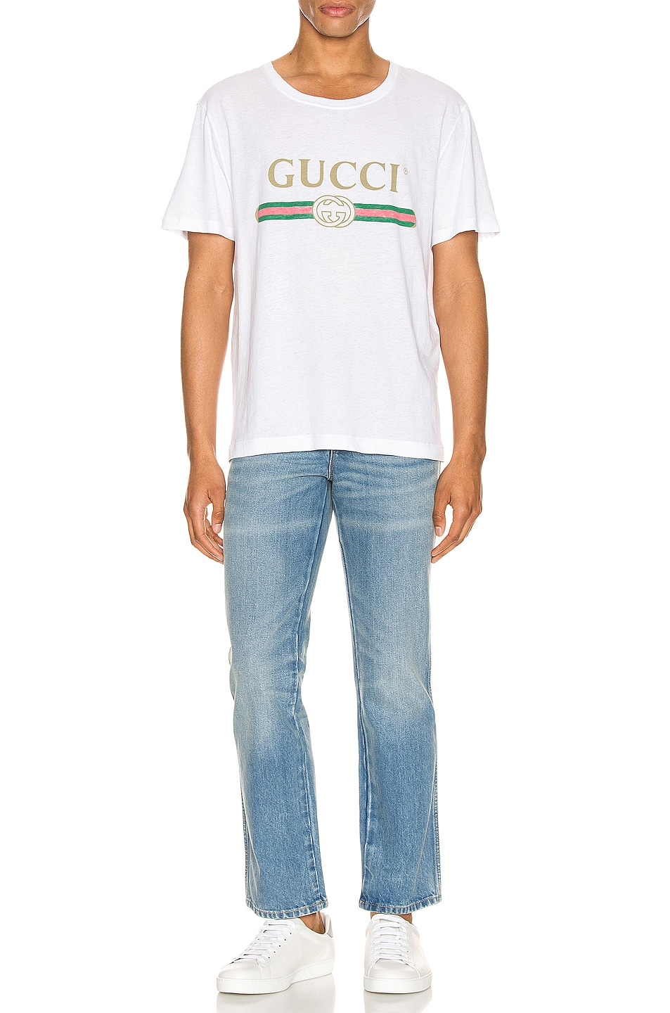 Image 4 of Gucci Logo Oversize Washed Tee in White & Green & Red & Gold