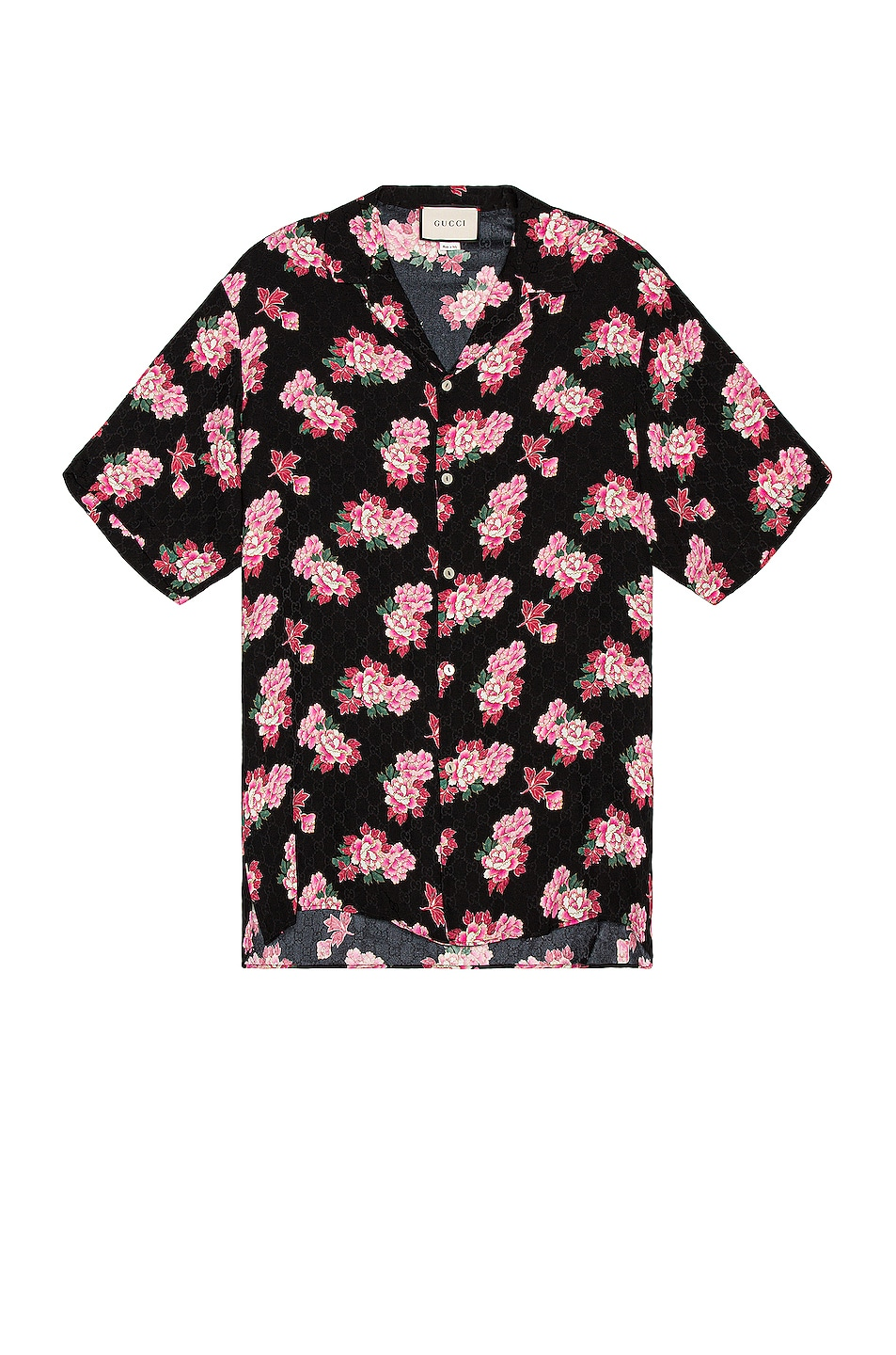 Image 1 of Gucci Short Sleeve Button Down in Black & Rose & Multi