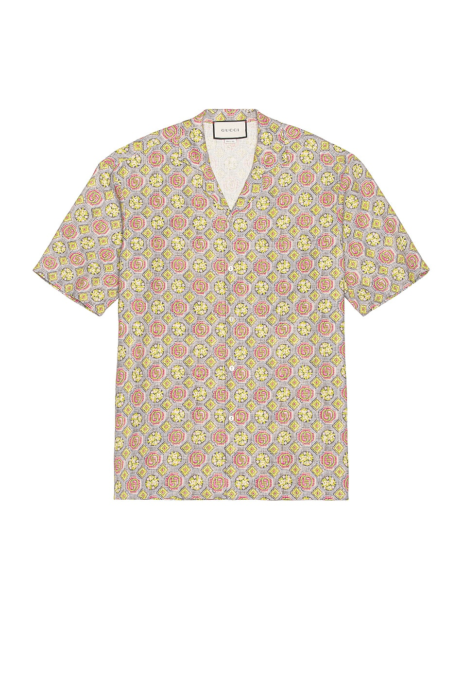 Image 1 of Gucci Short Sleeve Button Down in Cloudy Grey & Red & Mc