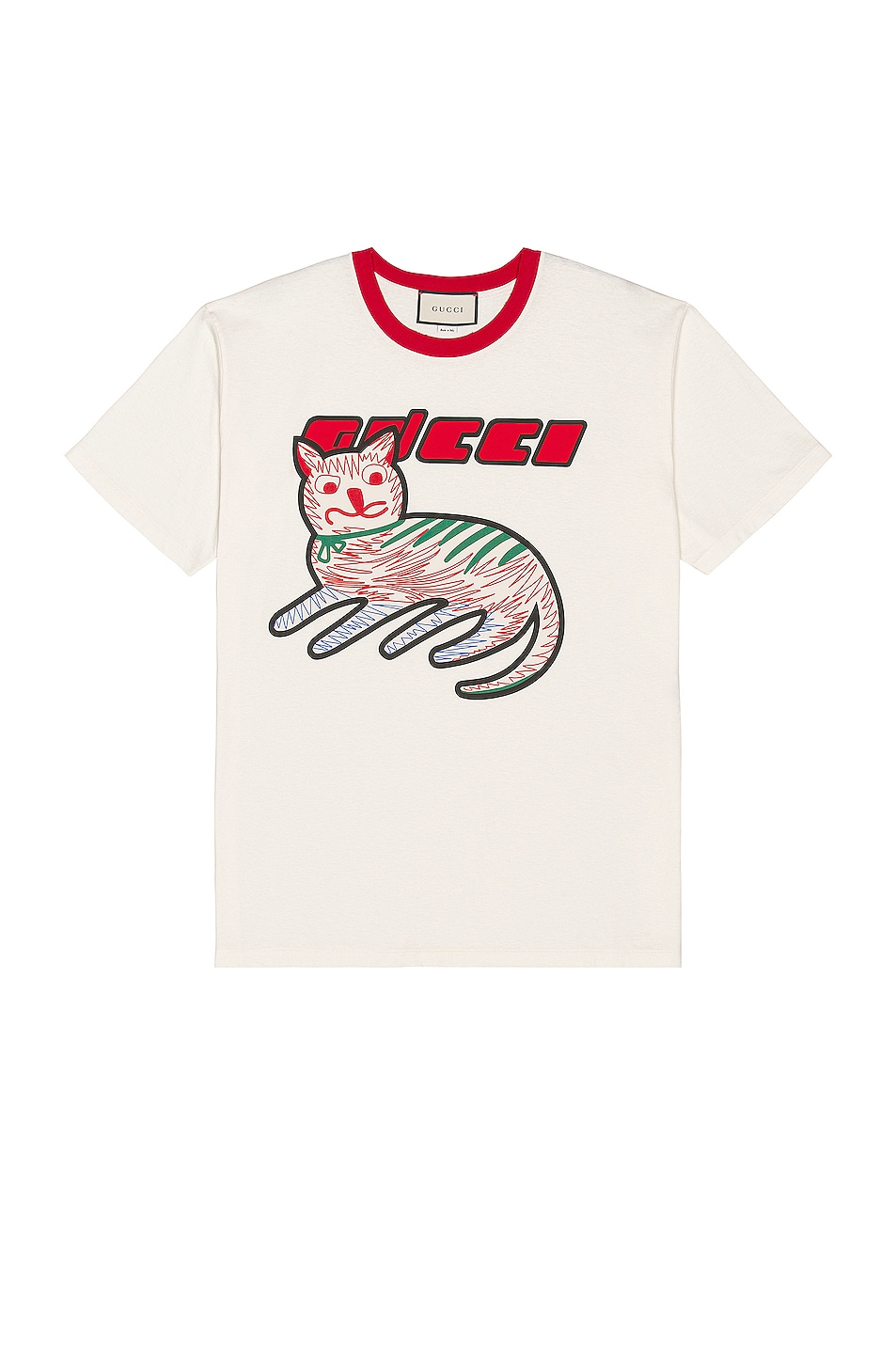Image 1 of Gucci Graphic Tee in Sunlight & Live Red & Mc