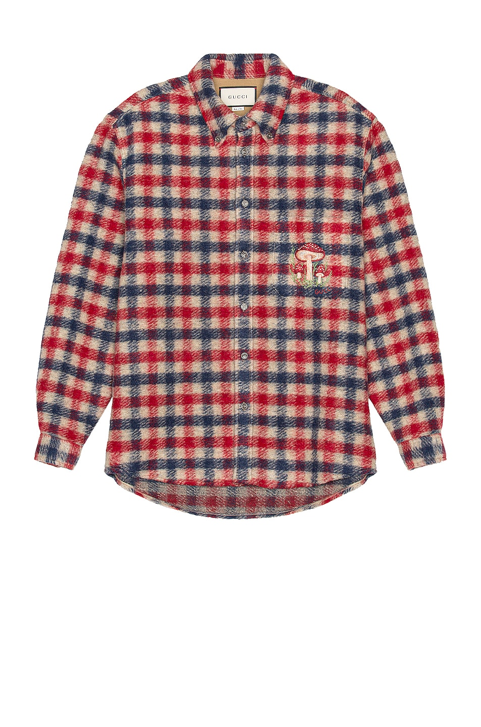 Image 1 of Gucci Long Sleeve Button Down in Beige & Blue & Red & Mix