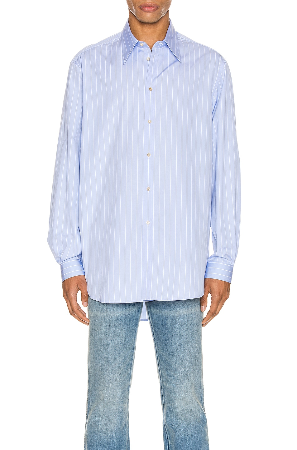 Image 1 of Gucci Oversized Striped Cotton Shirt in Azure & White