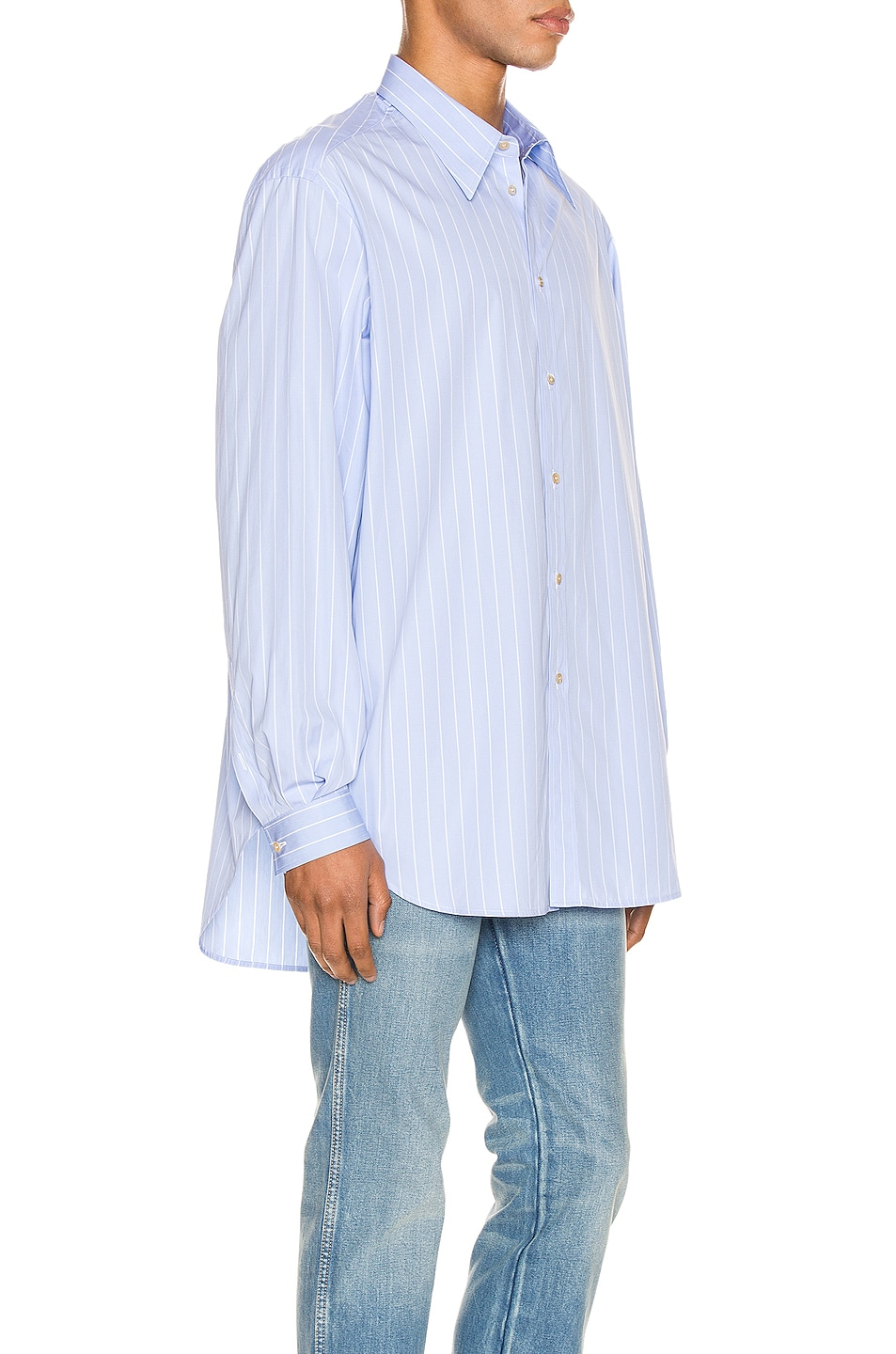 Image 2 of Gucci Oversized Striped Cotton Shirt in Azure & White
