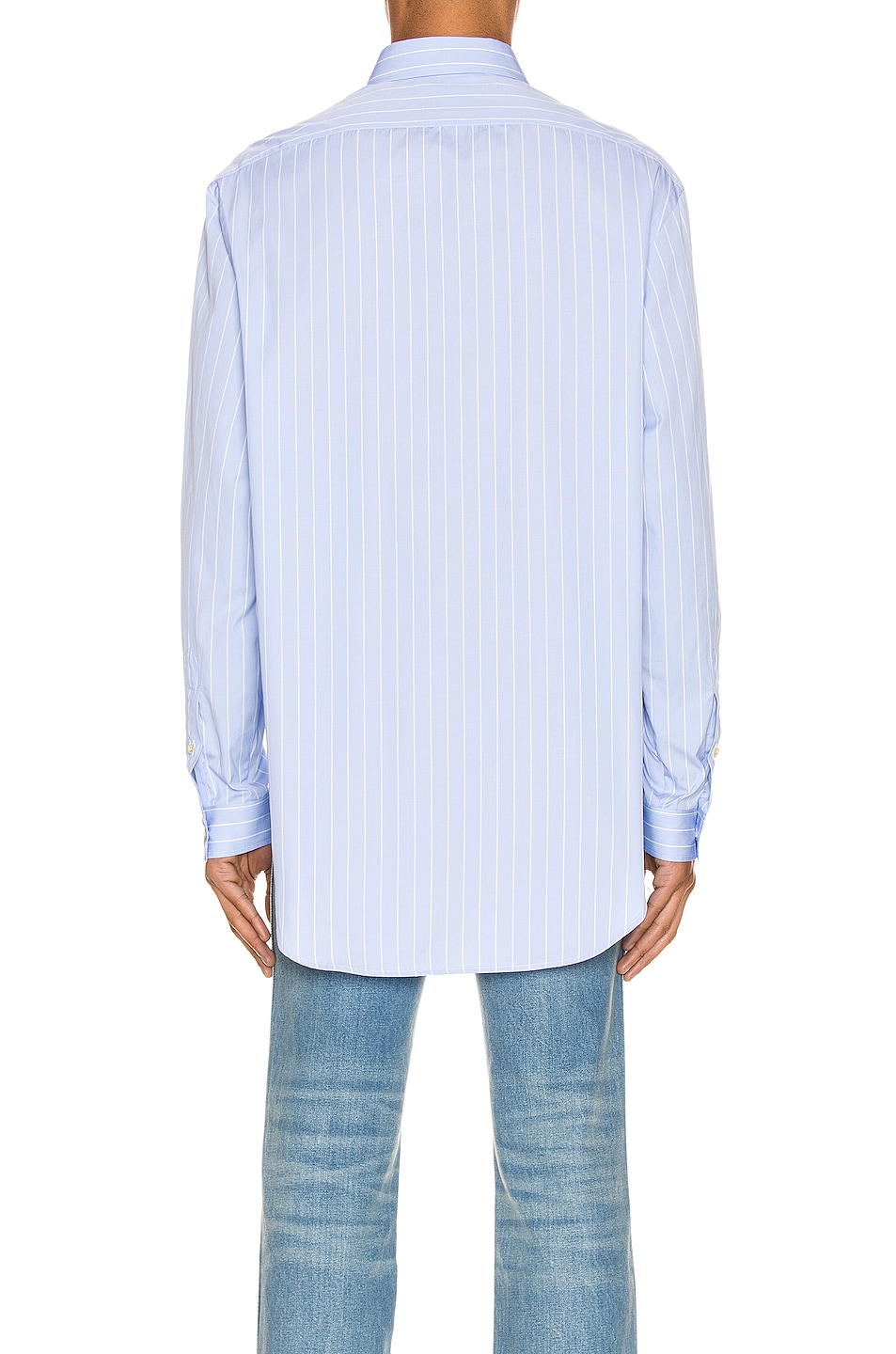 Image 3 of Gucci Oversized Striped Cotton Shirt in Azure & White
