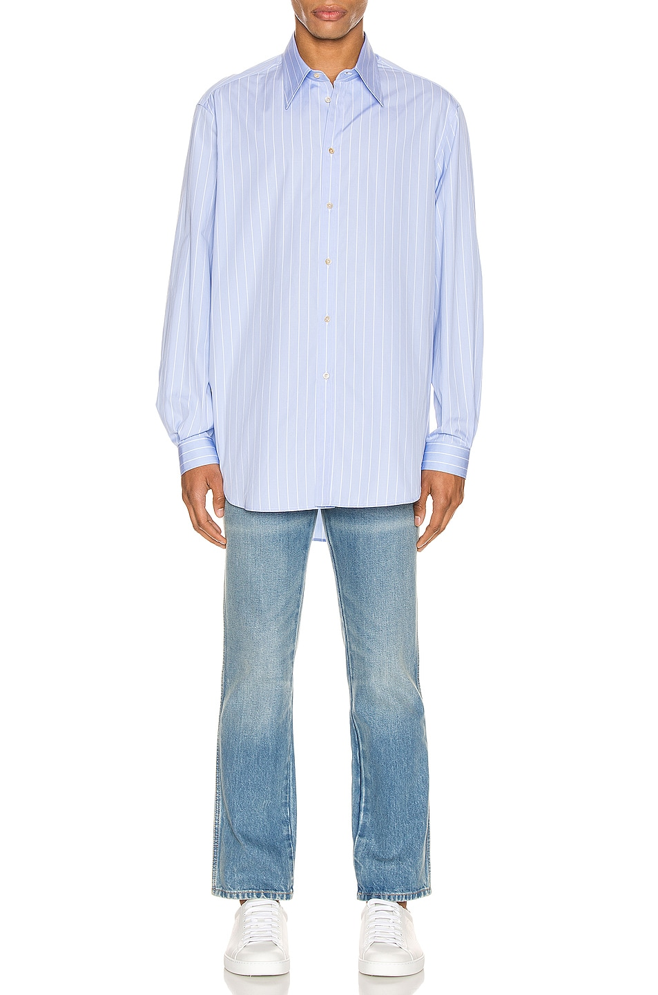 Image 4 of Gucci Oversized Striped Cotton Shirt in Azure & White