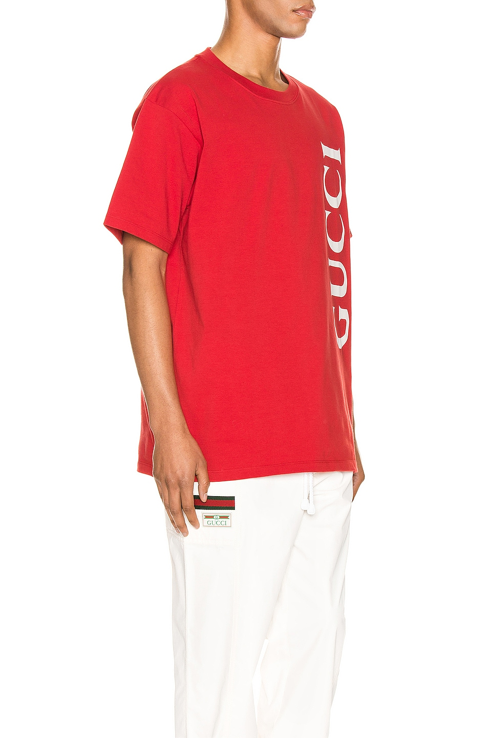 Image 2 of Gucci Print Oversize Tee in Brick & White