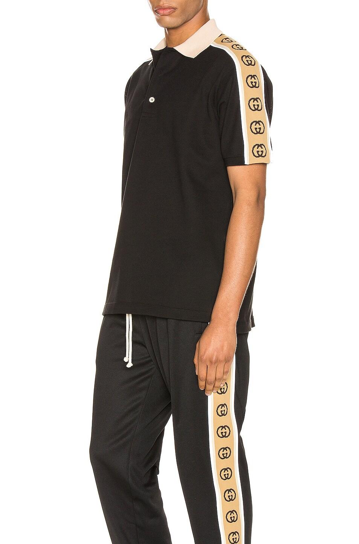 Image 1 of Gucci Polo With Interlocking G Stripe in Black & Multi