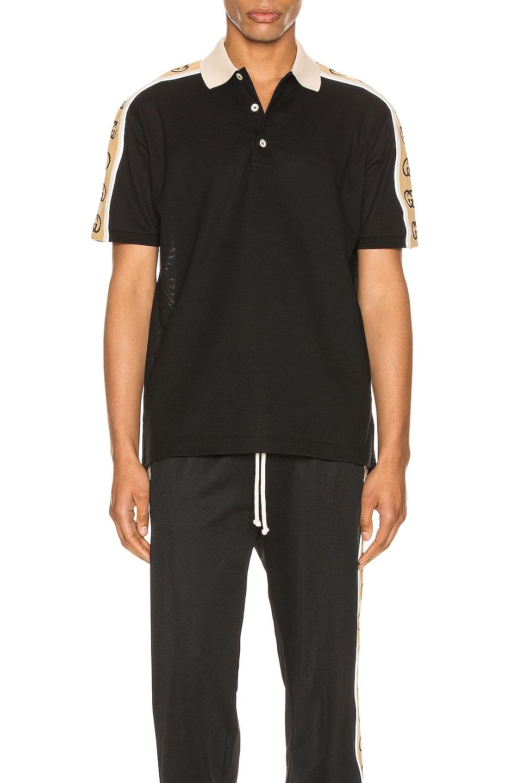 Image 2 of Gucci Polo With Interlocking G Stripe in Black & Multi
