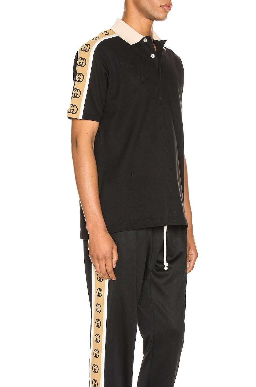 Image 3 of Gucci Polo With Interlocking G Stripe in Black & Multi