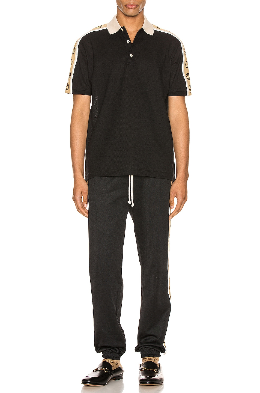 Image 5 of Gucci Polo With Interlocking G Stripe in Black & Multi