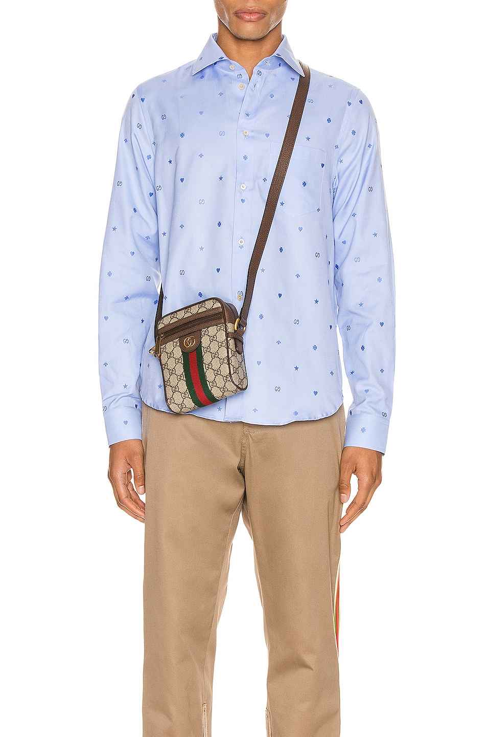 Image 1 of Gucci Symbols Fil Coupe Cotton Shirt in Sky Blue