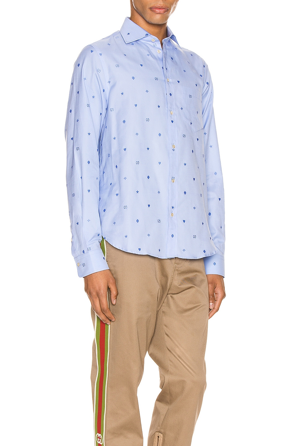 Image 3 of Gucci Symbols Fil Coupe Cotton Shirt in Sky Blue