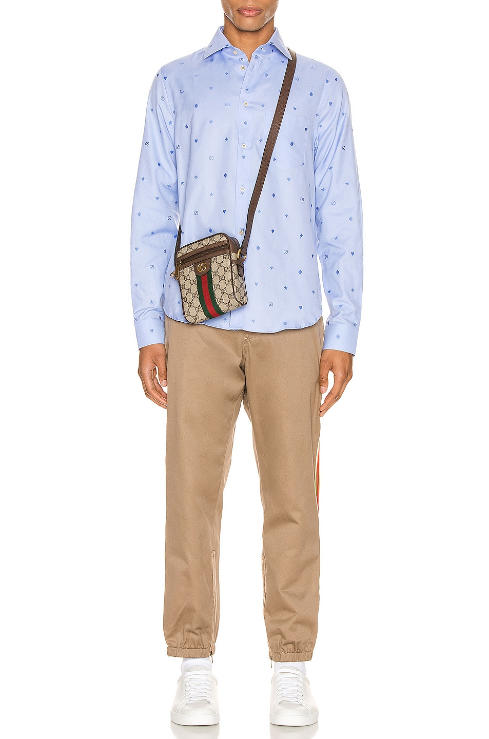 Image 5 of Gucci Symbols Fil Coupe Cotton Shirt in Sky Blue