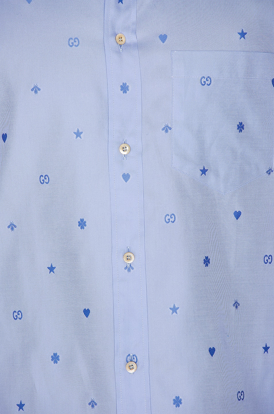 Image 6 of Gucci Symbols Fil Coupe Cotton Shirt in Sky Blue