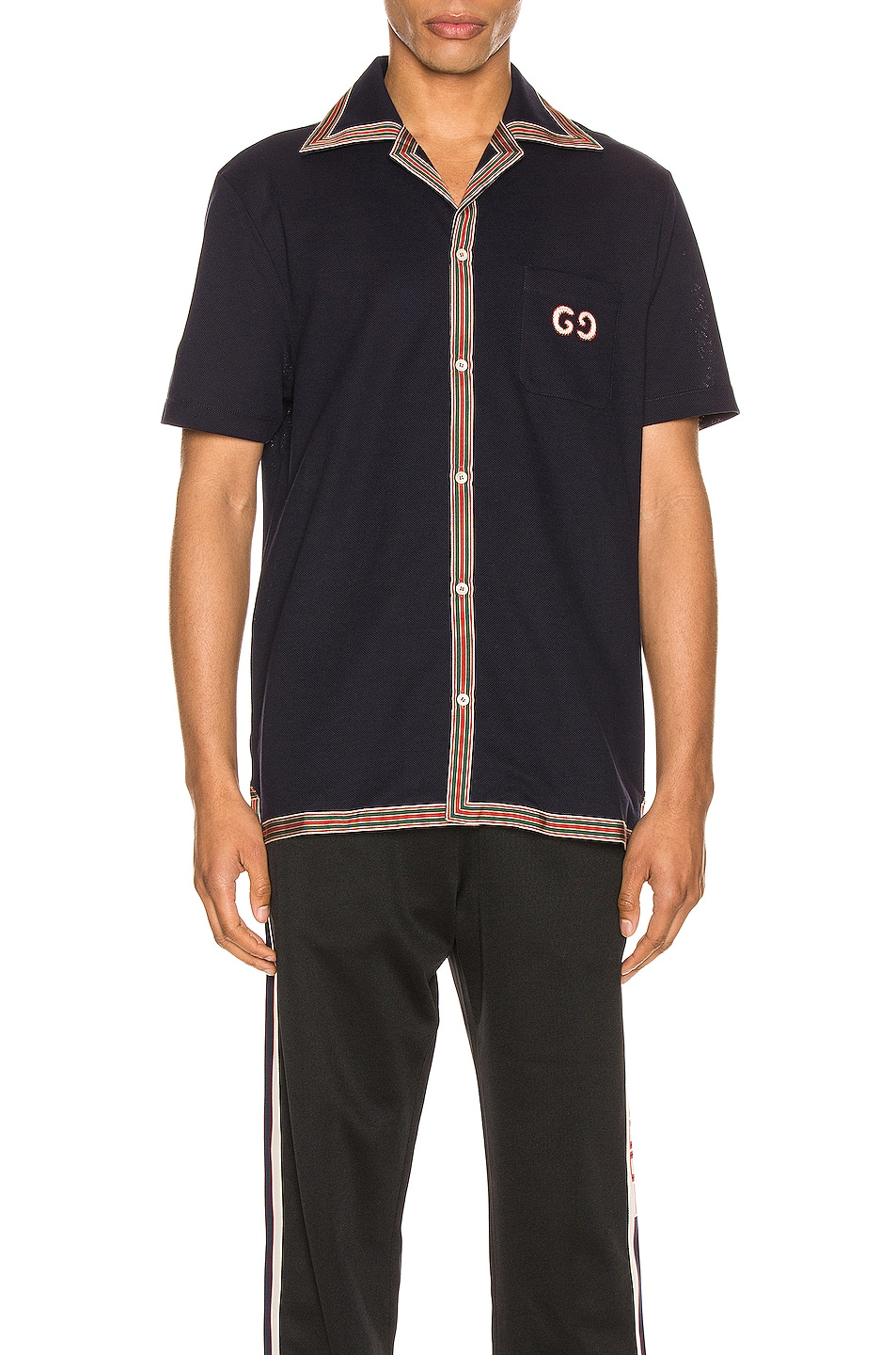 Image 1 of Gucci Cotton Polo With GG Embroidery in Navy & Multi