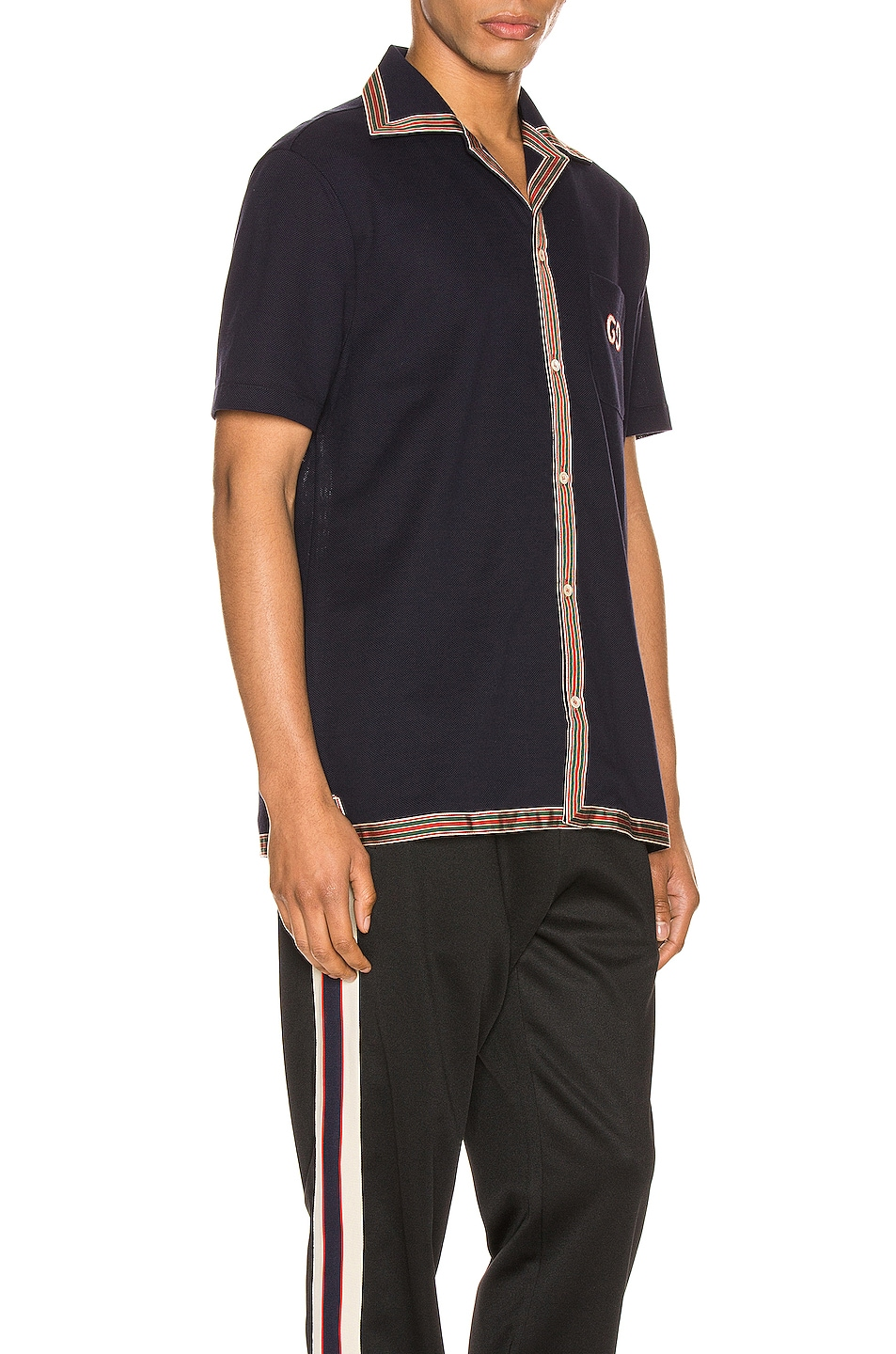 Image 2 of Gucci Cotton Polo With GG Embroidery in Navy & Multi