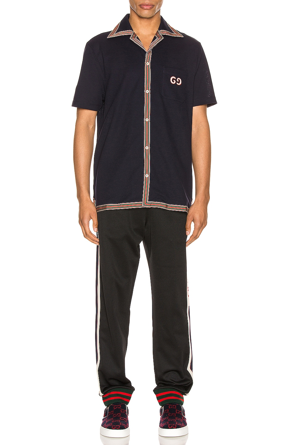 Image 4 of Gucci Cotton Polo With GG Embroidery in Navy & Multi