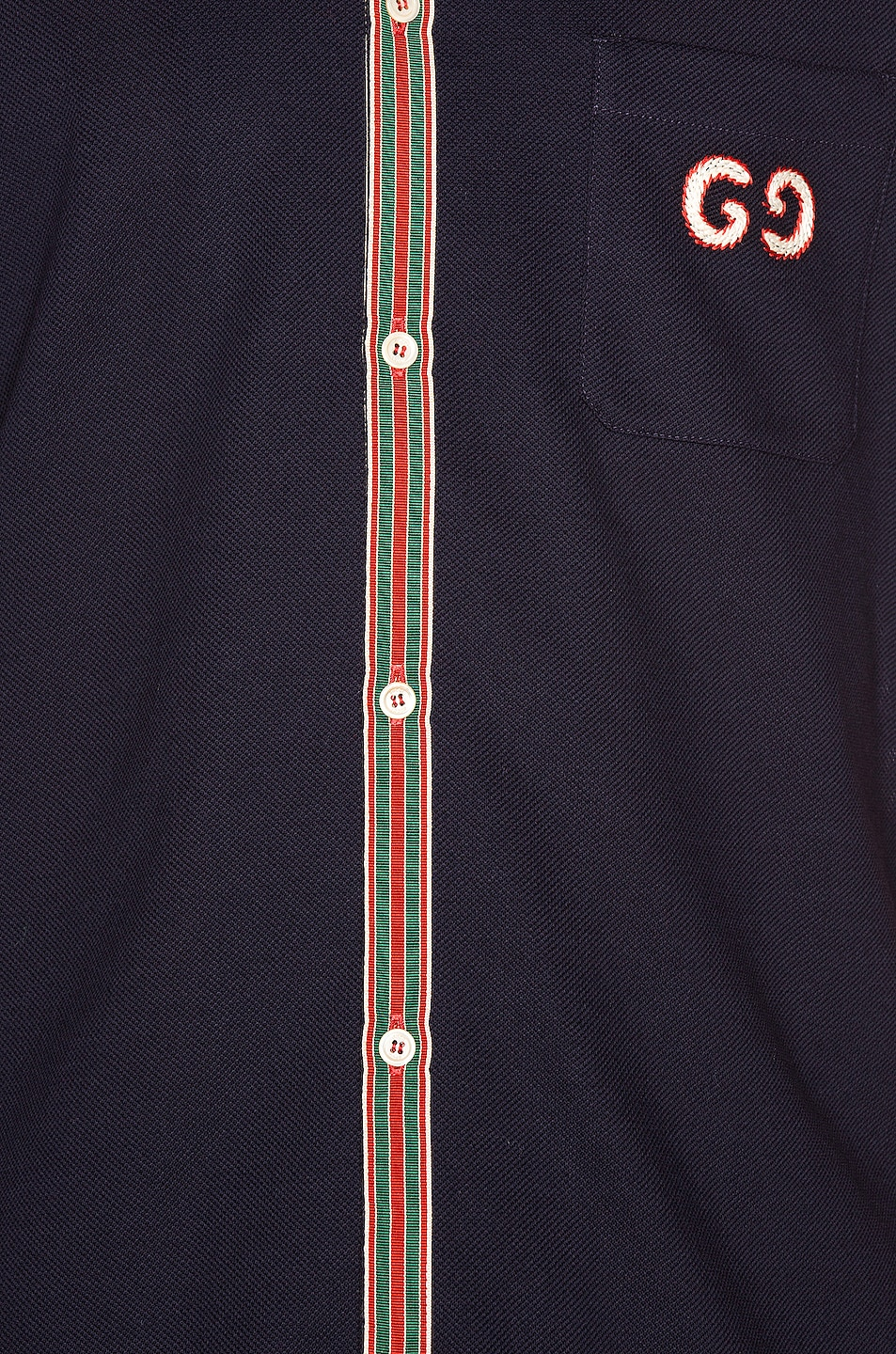 Image 5 of Gucci Cotton Polo With GG Embroidery in Navy & Multi