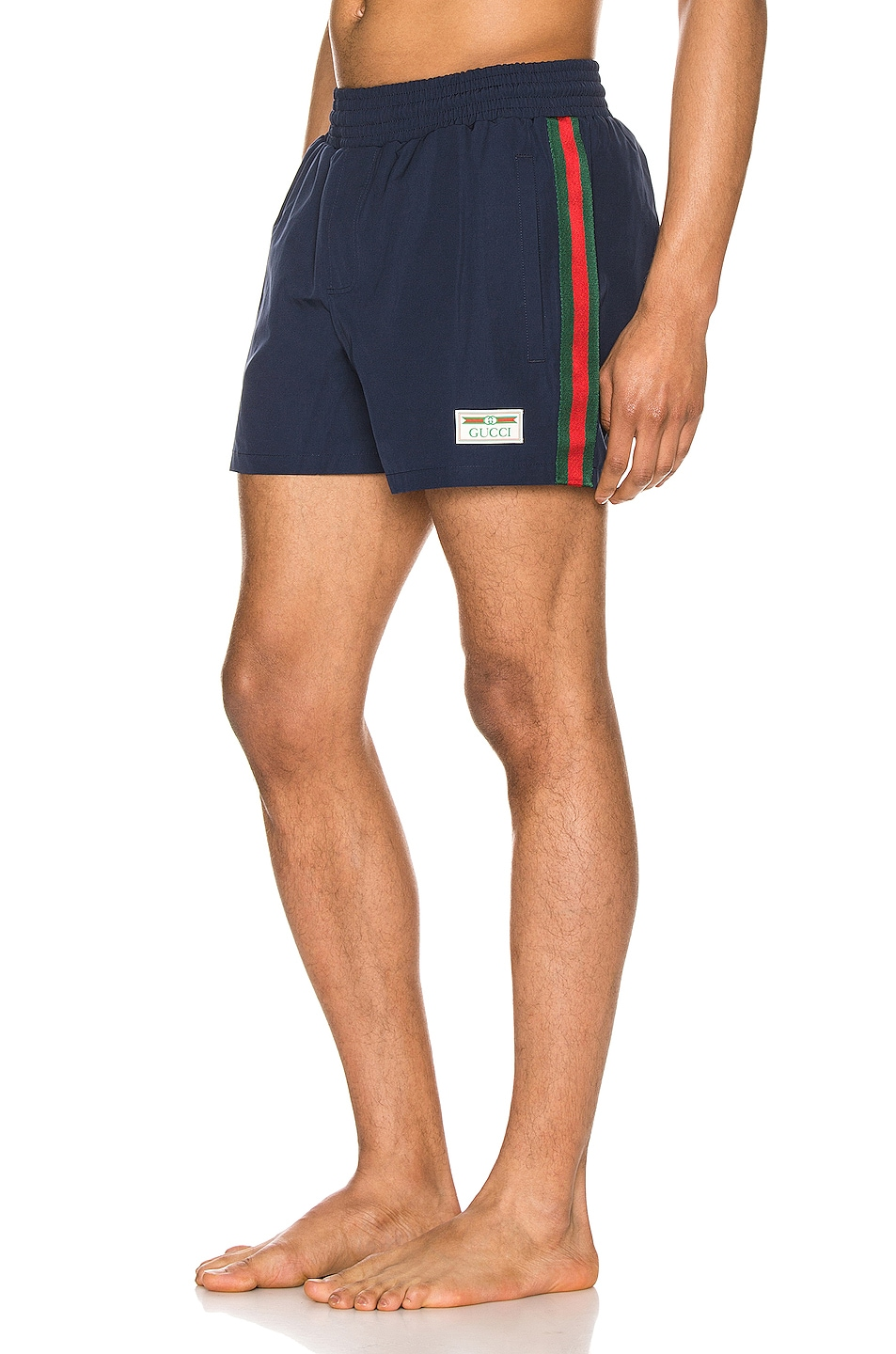 Image 1 of Gucci Waterproof Nylon Swim Shorts With Web in Blue & Green & Red